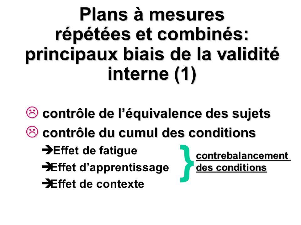 Plans à mesures répétées et combinés: principaux biais de la validité interne (1)