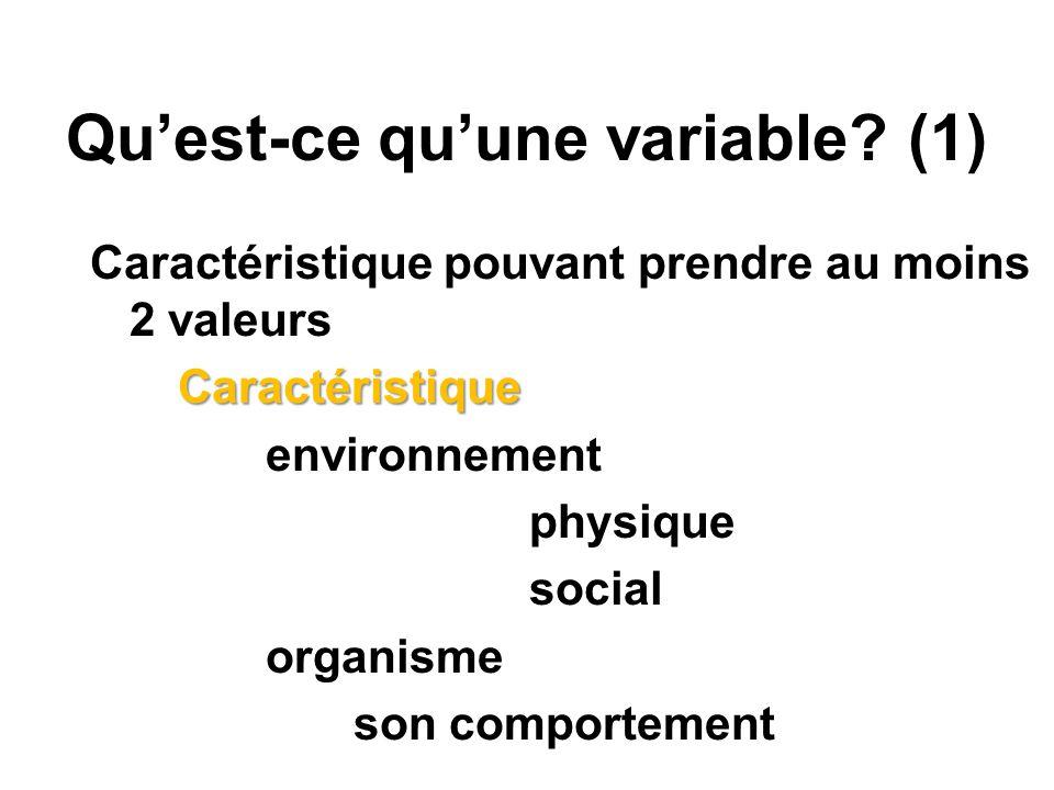 Qu'est-ce qu'une variable (1)