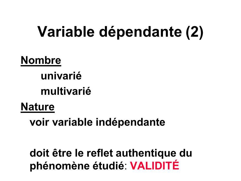 Variable dépendante (2)