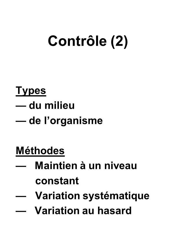 Contrôle (2) Types — du milieu — de l'organisme Méthodes