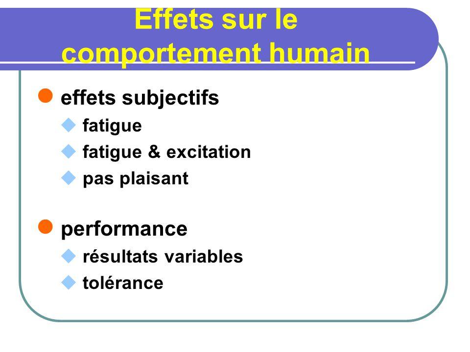 Effets sur le comportement humain