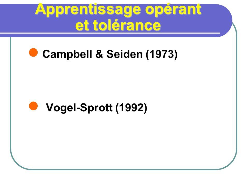 Apprentissage opérant et tolérance