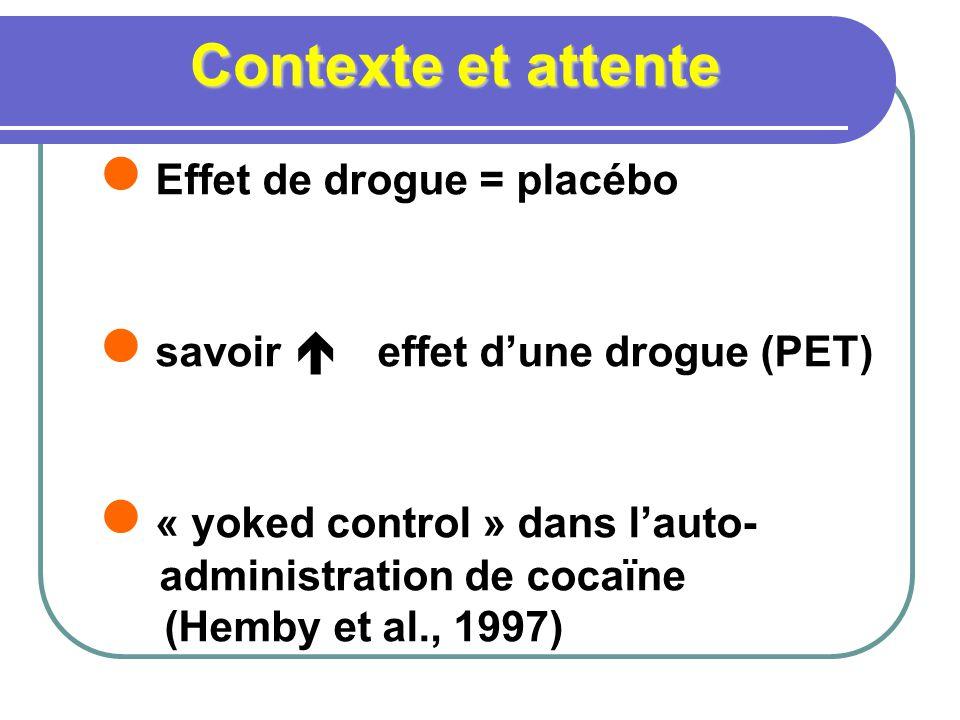 Contexte et attente Effet de drogue = placébo