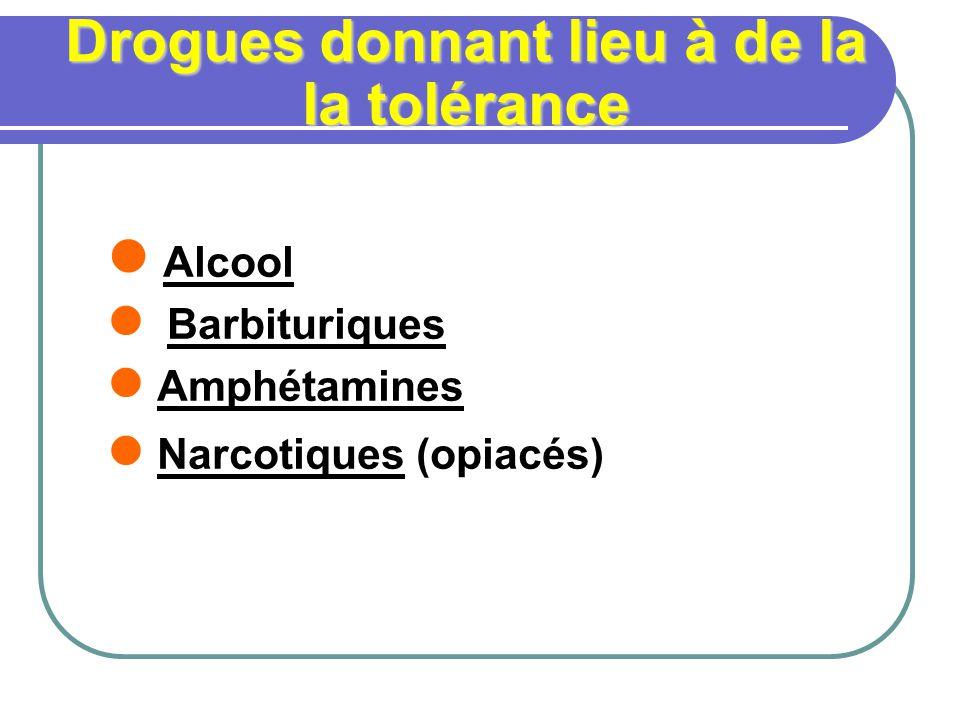Drogues donnant lieu à de la la tolérance