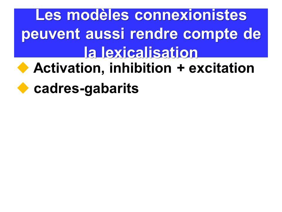 Les modèles connexionistes peuvent aussi rendre compte de la lexicalisation