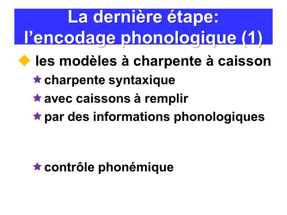 La dernière étape: l'encodage phonologique (1)