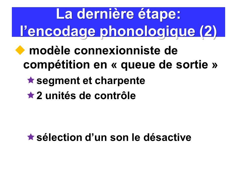 La dernière étape: l'encodage phonologique (2)