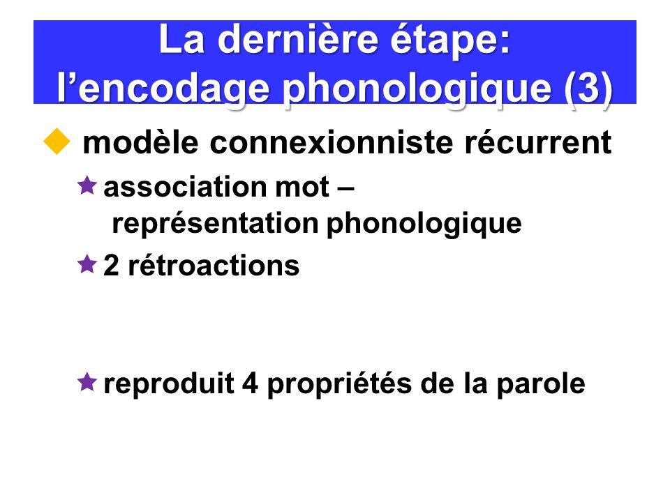 La dernière étape: l'encodage phonologique (3)