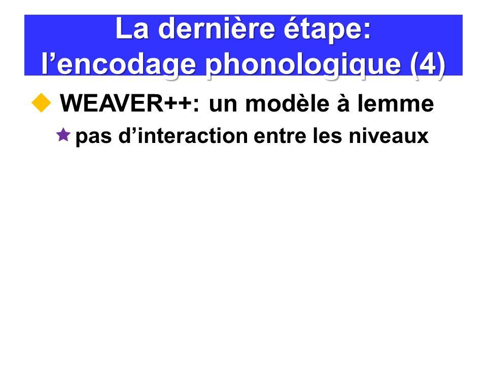La dernière étape: l'encodage phonologique (4)