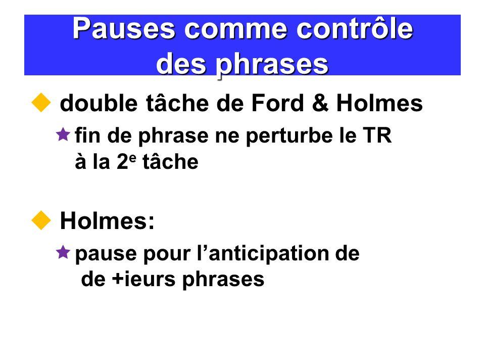 Pauses comme contrôle des phrases