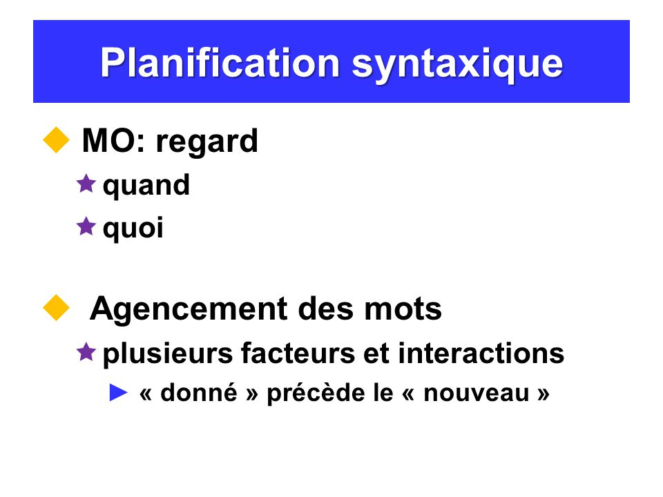 Planification syntaxique