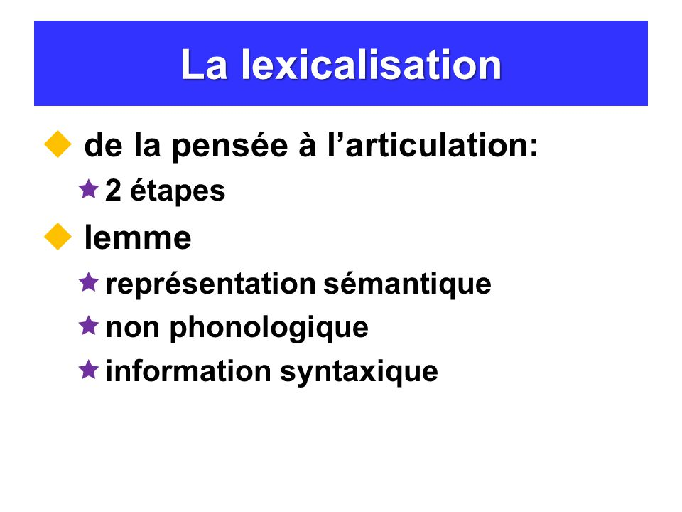 La lexicalisation de la pensée à l'articulation: lemme 2 étapes