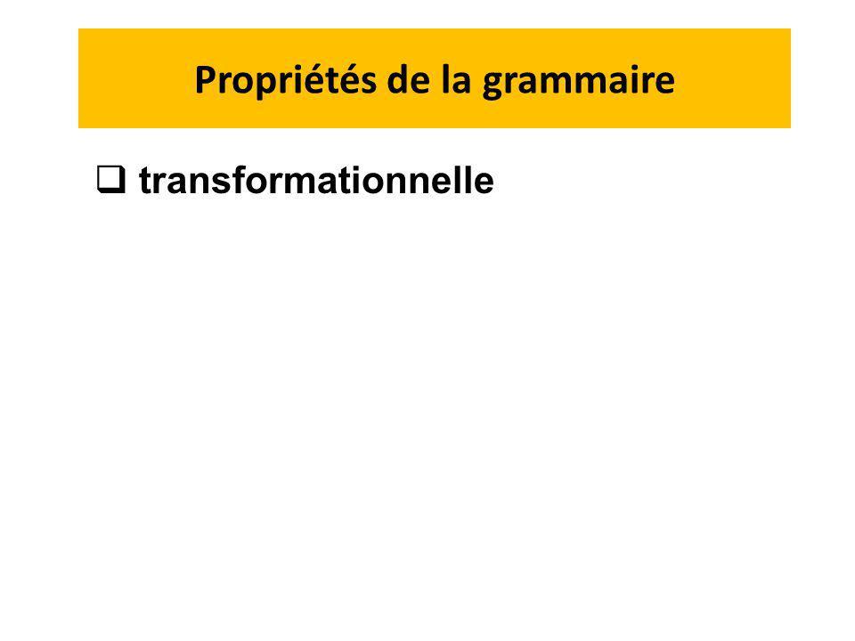 Propriétés de la grammaire