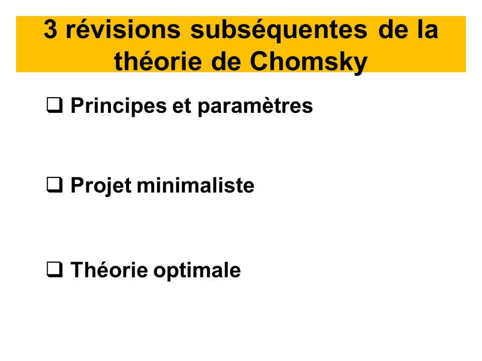 3 révisions subséquentes de la théorie de Chomsky