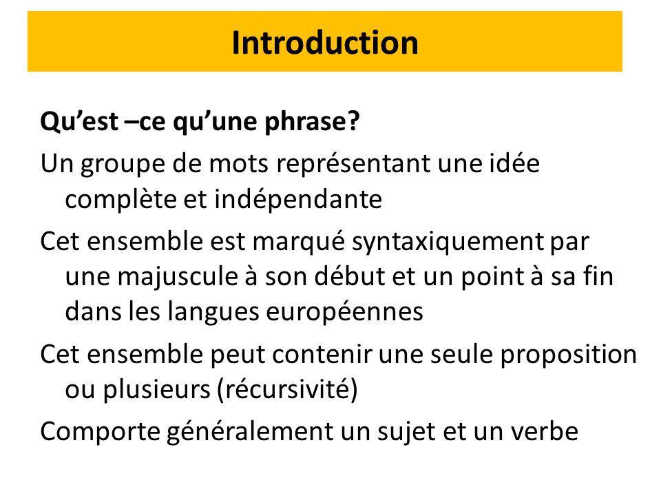 Introduction Qu'est –ce qu'une phrase