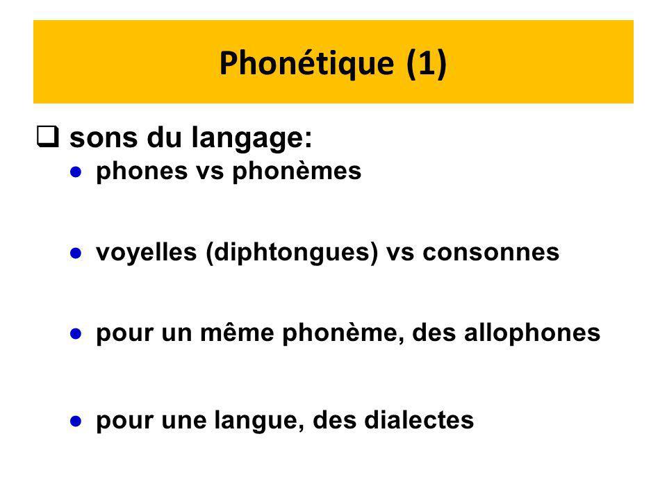 Phonétique (1) sons du langage: phones vs phonèmes
