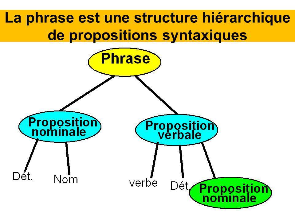 La phrase est une structure hiérarchique de propositions syntaxiques