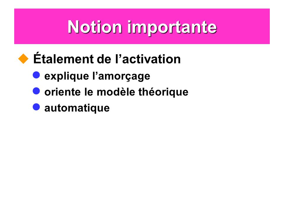 Notion importante Étalement de l'activation explique l'amorçage