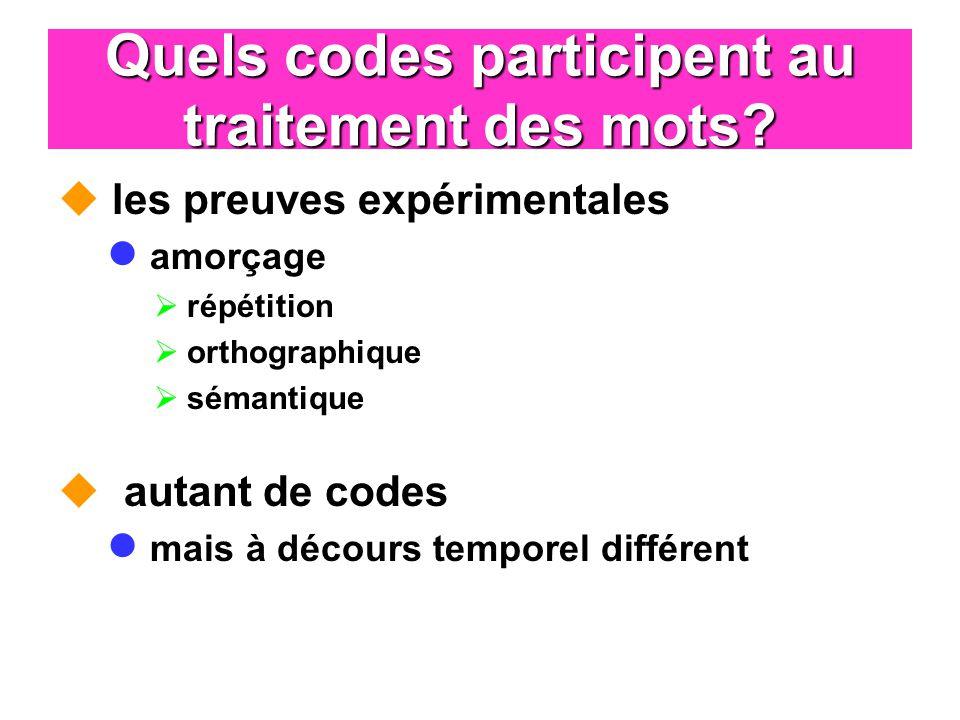 Quels codes participent au traitement des mots