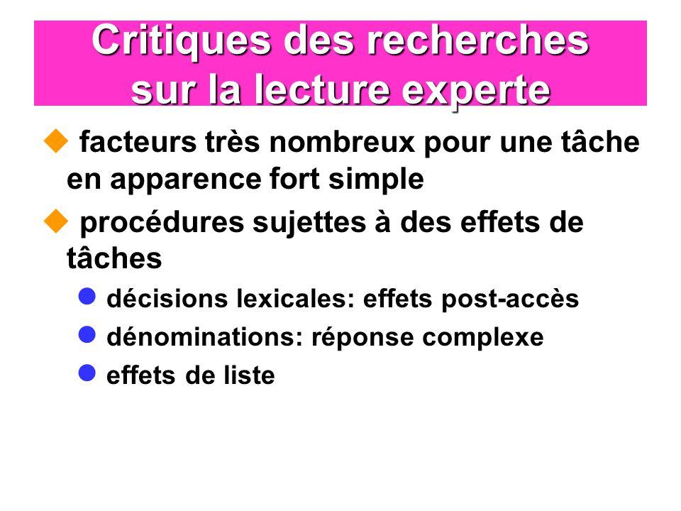 Critiques des recherches sur la lecture experte