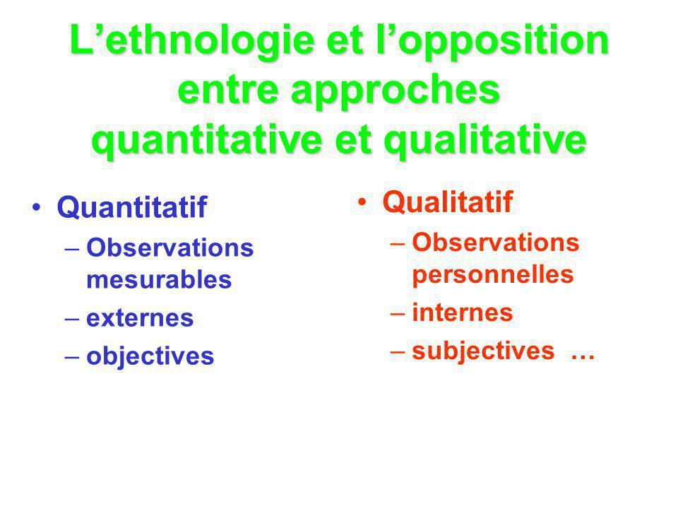 L'ethnologie et l'opposition entre approches quantitative et qualitative