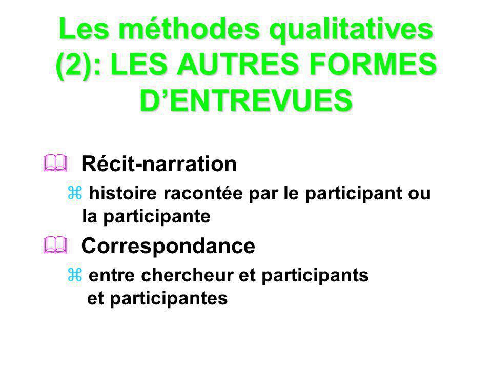 Les méthodes qualitatives (2): LES AUTRES FORMES D'ENTREVUES