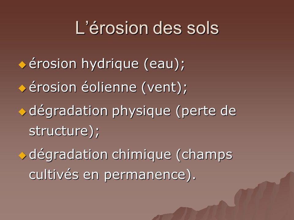 L'érosion des sols érosion hydrique (eau); érosion éolienne (vent);