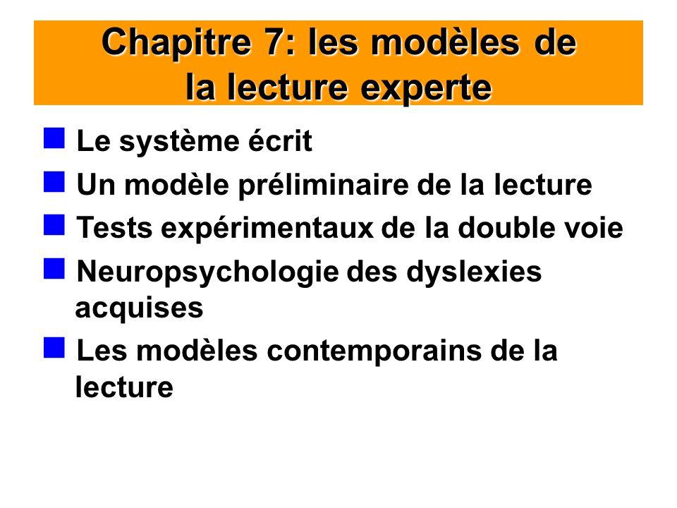 Chapitre 7: les modèles de la lecture experte