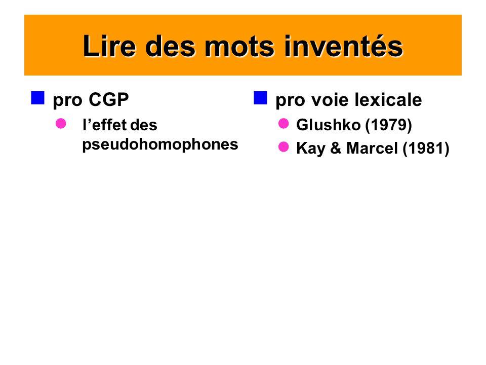 Lire des mots inventés pro CGP pro voie lexicale