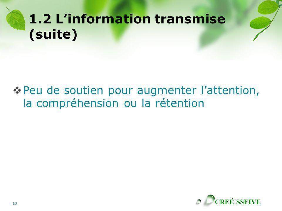 1.2 L'information transmise (suite)