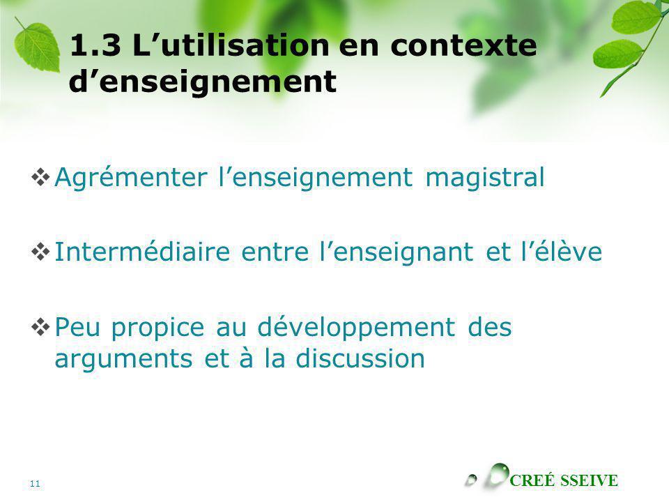 1.3 L'utilisation en contexte d'enseignement