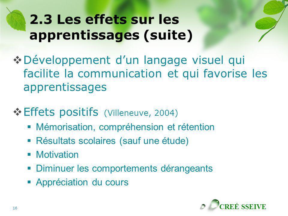 2.3 Les effets sur les apprentissages (suite)