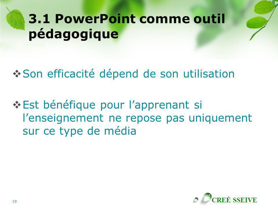 3.1 PowerPoint comme outil pédagogique