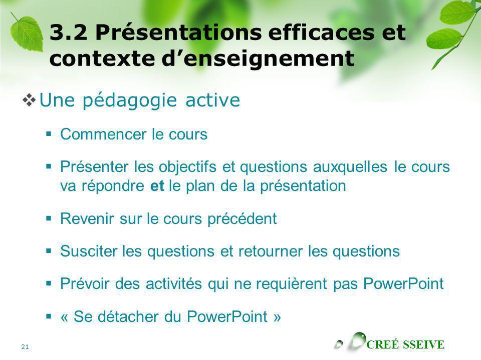 3.2 Présentations efficaces et contexte d'enseignement