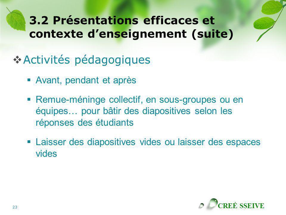 3.2 Présentations efficaces et contexte d'enseignement (suite)
