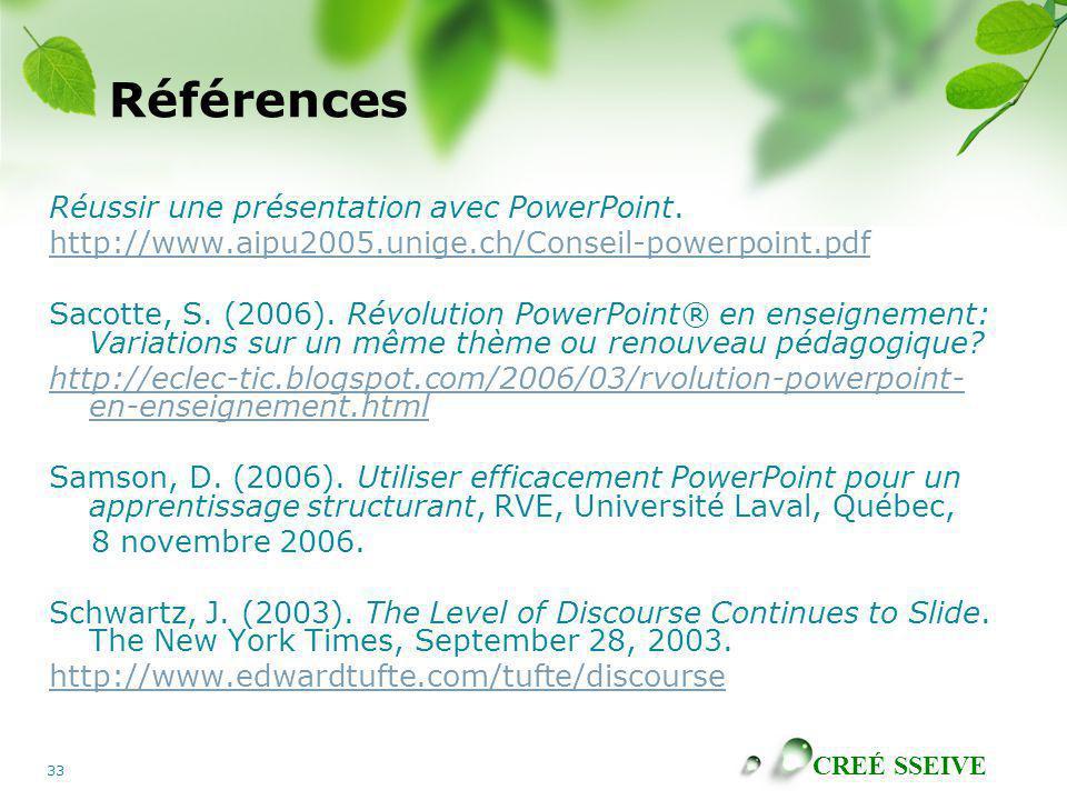 Références Réussir une présentation avec PowerPoint.