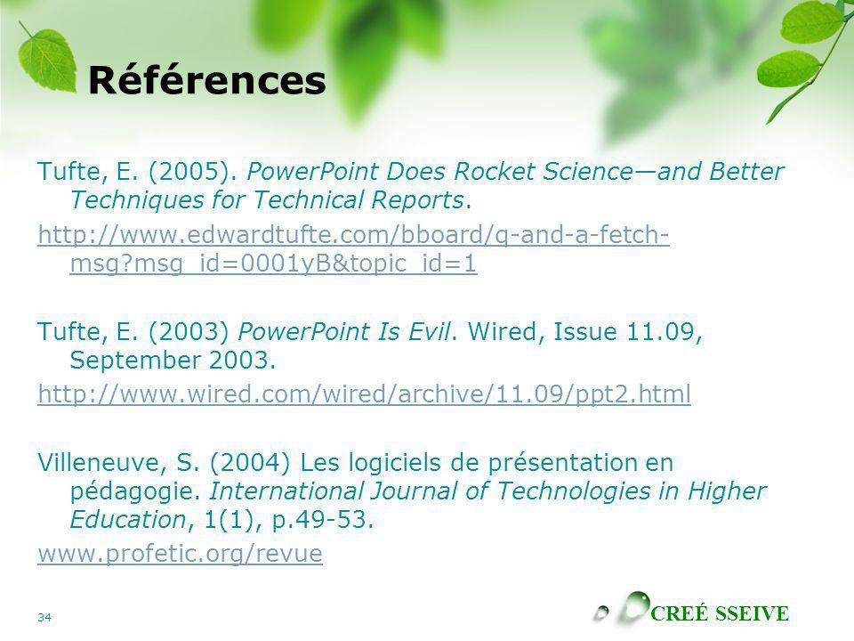 Références Tufte, E. (2005). PowerPoint Does Rocket Science—and Better Techniques for Technical Reports.