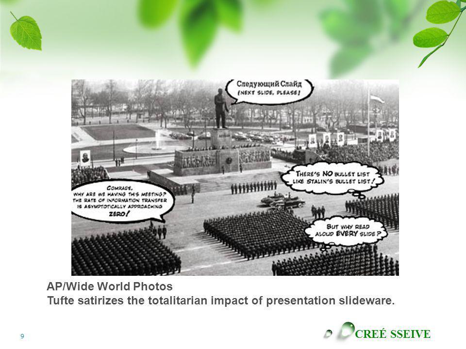 AP/Wide World Photos Tufte satirizes the totalitarian impact of presentation slideware.