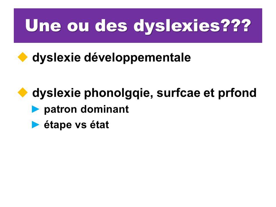 Une ou des dyslexies dyslexie développementale