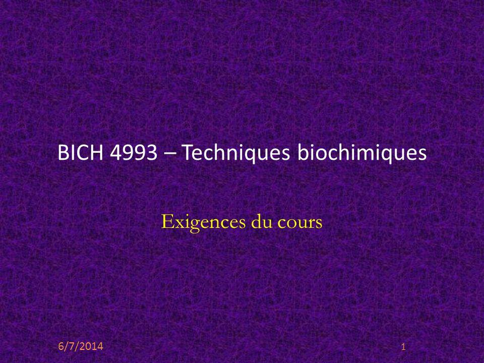 BICH 4993 – Techniques biochimiques