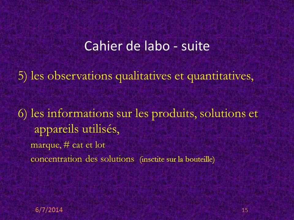Cahier de labo - suite 5) les observations qualitatives et quantitatives, 6) les informations sur les produits, solutions et appareils utilisés,