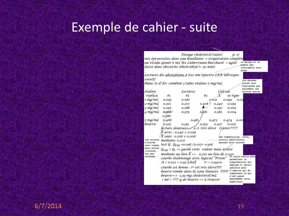 Exemple de cahier - suite