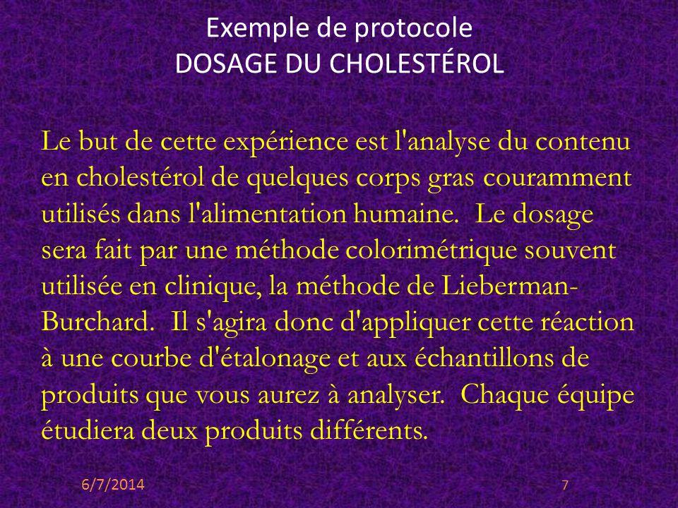 Exemple de protocole DOSAGE DU CHOLESTÉROL