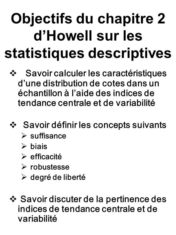Objectifs du chapitre 2 d'Howell sur les statistiques descriptives