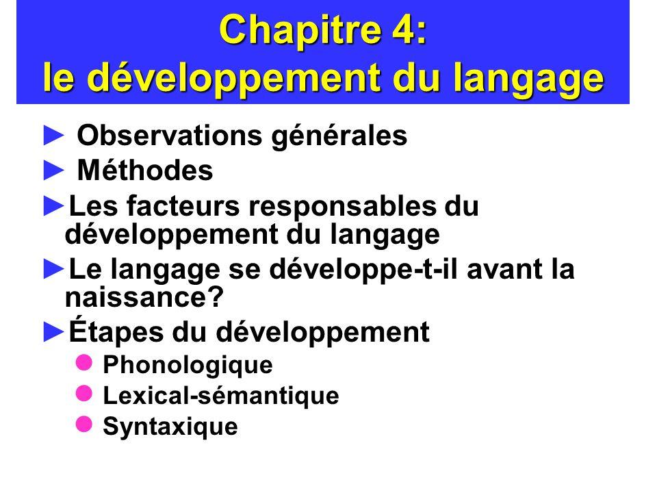 Chapitre 4: le développement du langage