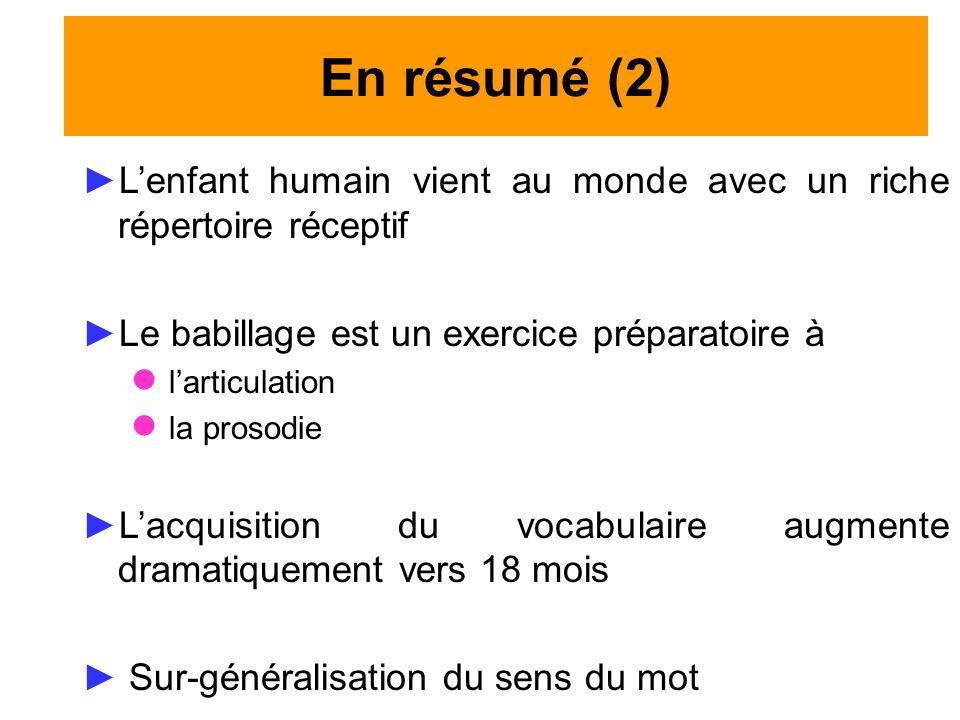 En résumé (2) L'enfant humain vient au monde avec un riche répertoire réceptif. Le babillage est un exercice préparatoire à.