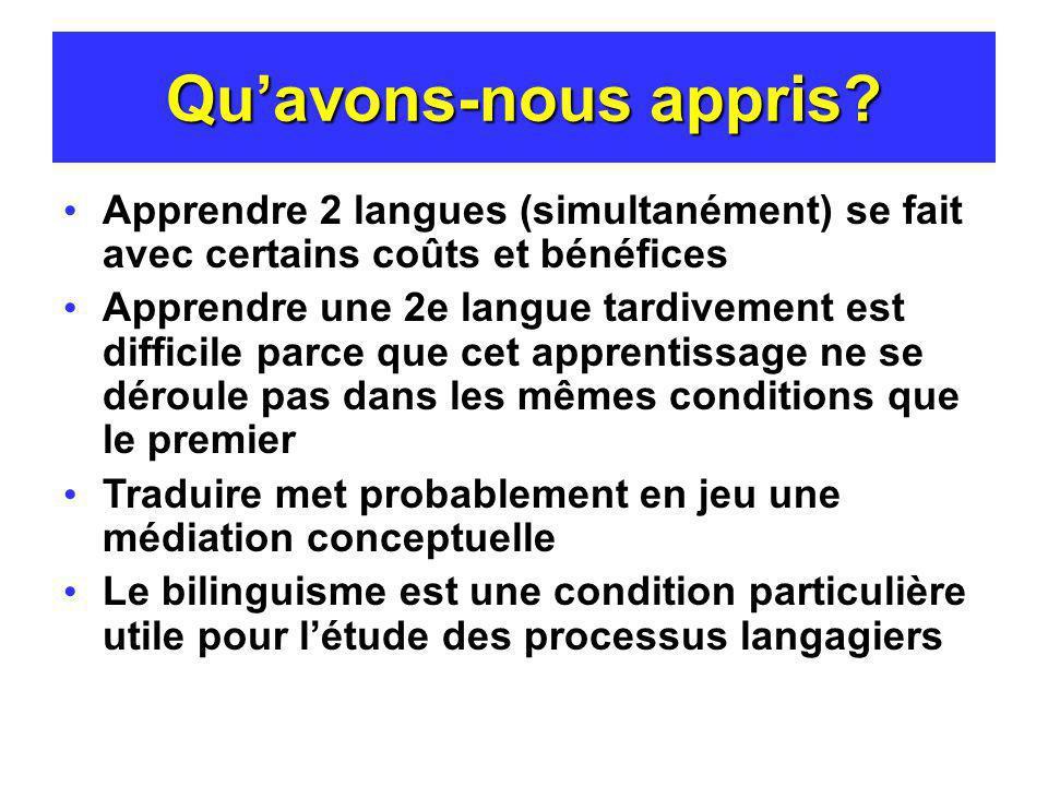 Qu'avons-nous appris Apprendre 2 langues (simultanément) se fait avec certains coûts et bénéfices.