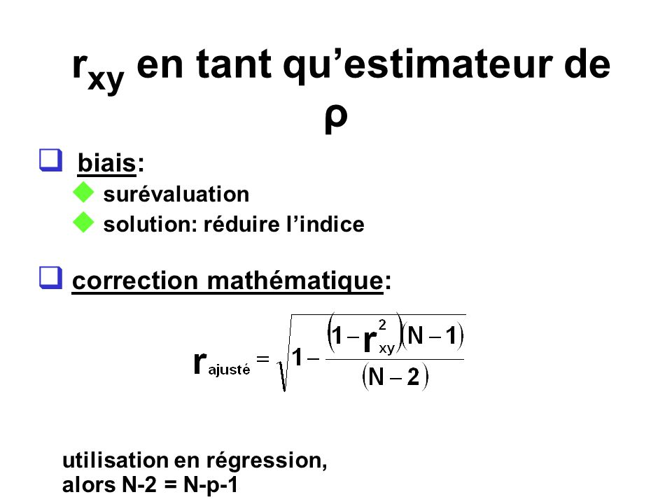 rxy en tant qu'estimateur de ρ