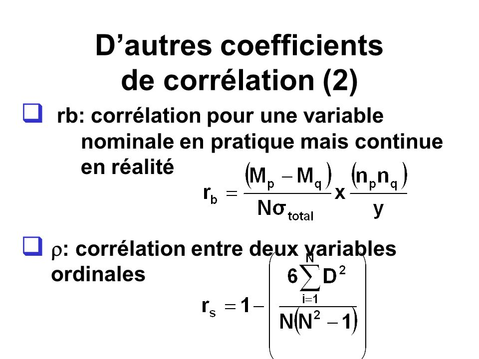 D'autres coefficients de corrélation (2)