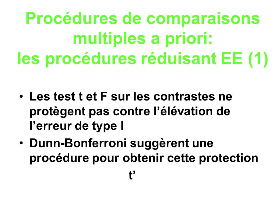 Procédures de comparaisons multiples a priori: les procédures réduisant EE (1)